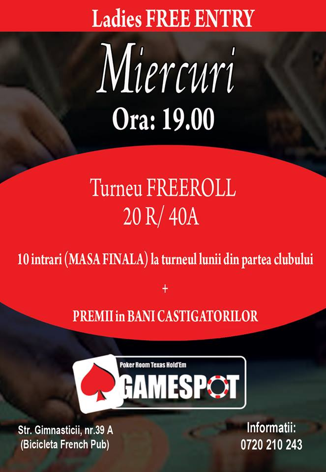 Miercuri Turneu FREEROLL Poker Gamespot